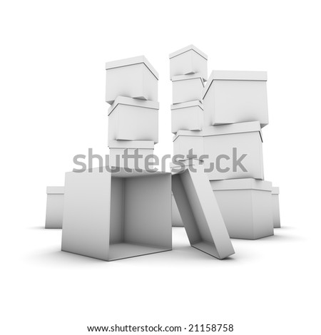 stacks of gray boxes, one fallen down, lying open on the ground