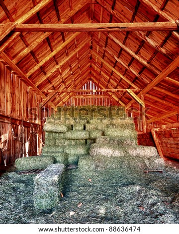 Stacks of hay inside the Gifford barn at the Fruita Oasis in Capitol Reef National Park, Utah - stock photo