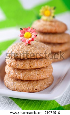 Stacks of homemade gingerbread cookies on white plate - stock photo