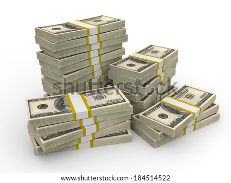 Stacks of Hundred US Dollars. 3D illustration. - stock photo