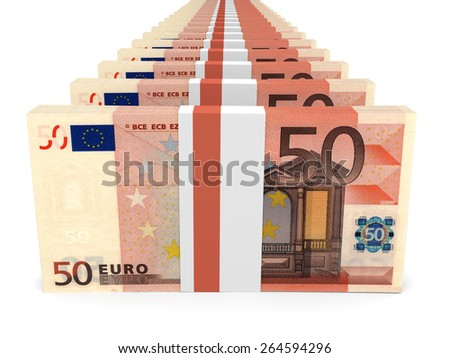 Stacks of money. Fifty euros. 3D illustration. - stock photo