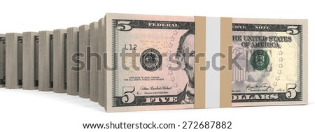 Stacks of money. Five dollars. 3D illustration.
