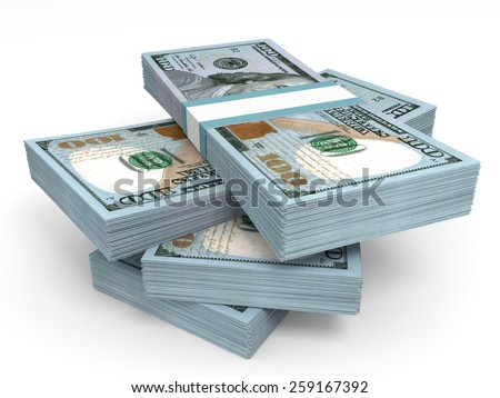 Stacks of money. New one hundred dollars. 3D illustration.