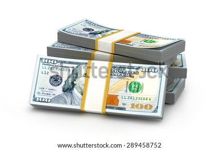 Stacks of money. New one hundred dollars. 3D illustration. - stock photo