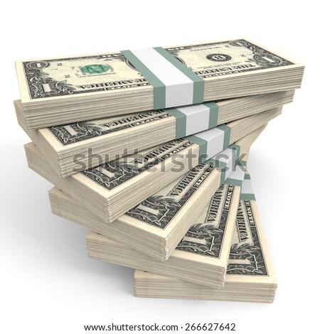 Stacks of money. One dollar. 3D illustration. - stock photo