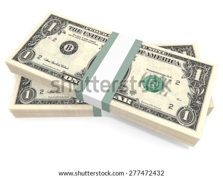 Stacks of money. One dollar. 3D illustration.