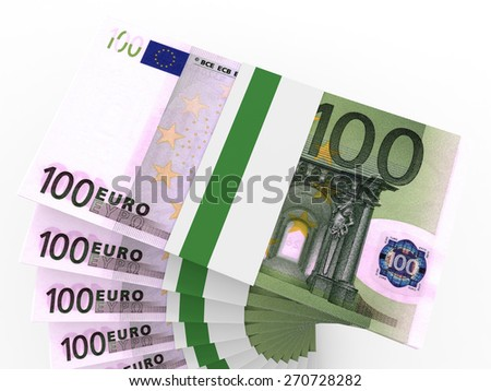 Stacks of money. One hundred euros. 3D illustration. - stock photo