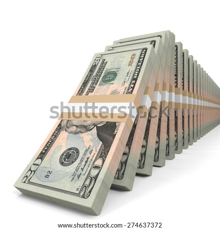 Stacks of money. Twenty dollars. 3D illustration.