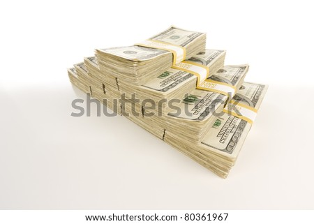 Stacks of One Hundred Dollar Bills Isolated on Gradation.