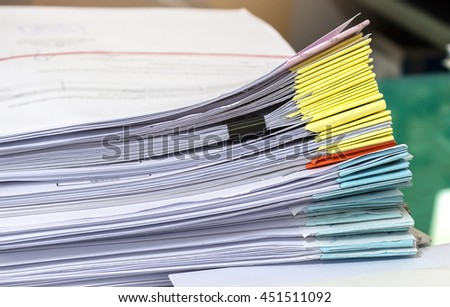 Stacks of paper, Business document and papers in office.