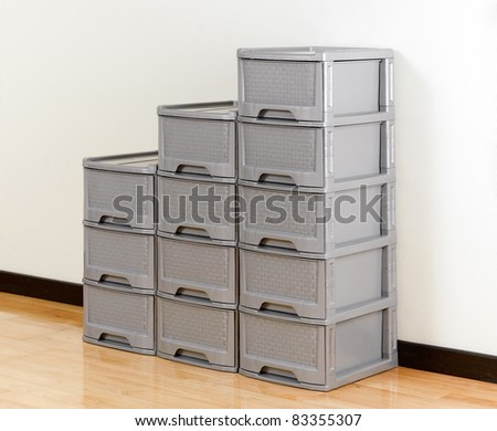 Stacks of plastic drawers for home or office using
