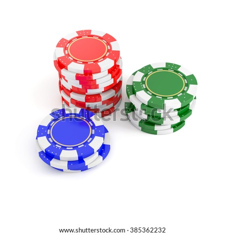 stacks of poker chips, gaming tokens isolated on a white background