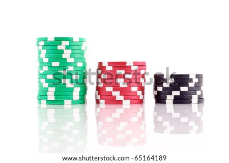 Stacks of Poker Chips with reflection - stock photo