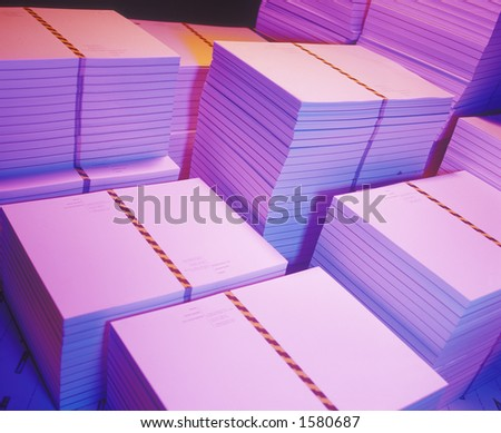 Stacks of printed paper - stock photo