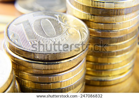 stacks of ruble coins