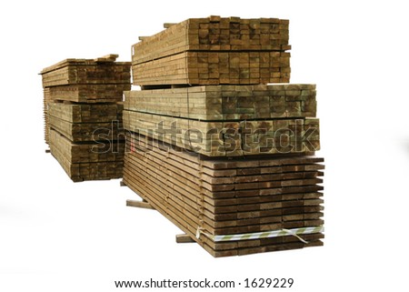 Stacks of sawn wood for construction - stock photo