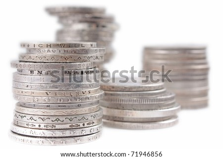 Stacks of silver money coins