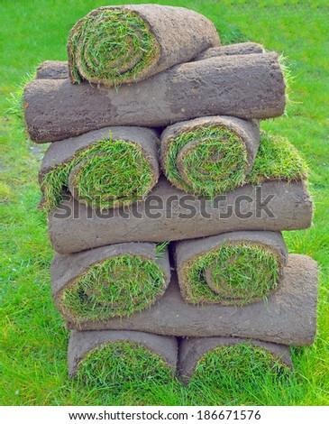 stacks of sod rolls - stock photo