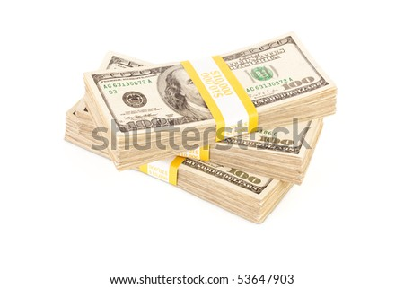 Stacks of Ten Thousand Dollar Piles of One Hundred Dollar Bills Isolated on a White Background. - stock photo