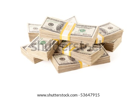 Stacks of Ten Thousand Dollar Piles of One Hundred Dollar Bills Isolated on a White Background.