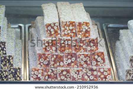 Stacks of Turkish Delight in a storefront window - stock photo