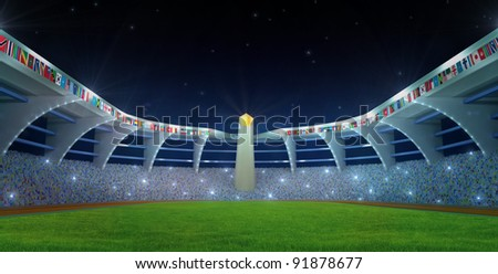 Stadium field with flags and olympics flame in night time - stock photo