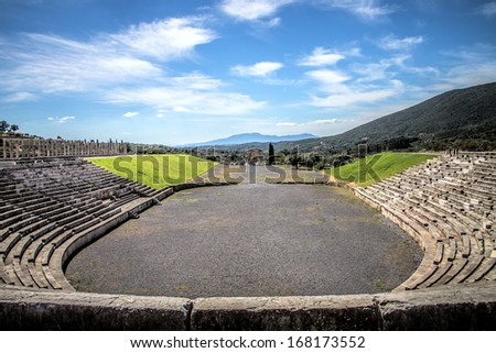 stadium in the city of Ancient Messina, Peloponnes, Greece, hdr  - stock photo
