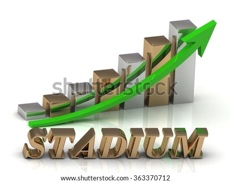 STADIUM- inscription of gold letters and Graphic growth and gold arrows on white background - stock photo