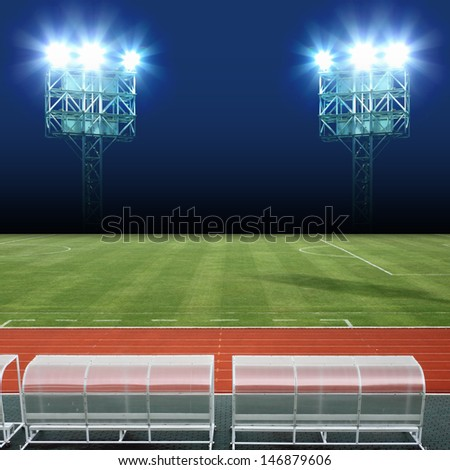 Stadium Light on Soccer Field Background - stock photo