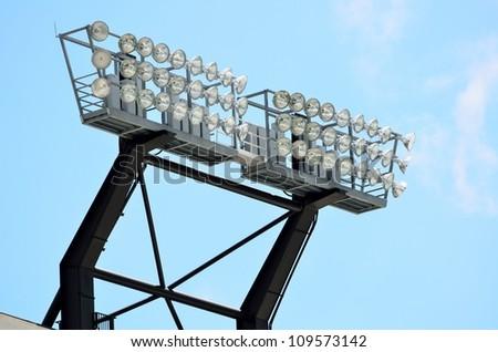 stadium lights at a college football field georgia usa - stock photo