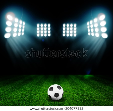 stadium lights at night and stadium - stock photo