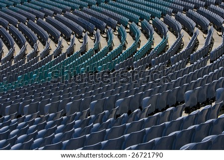 Stadium seating in rows