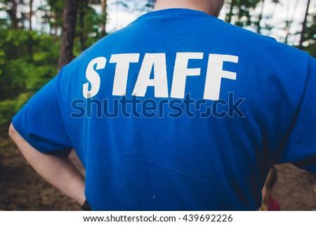 staff . inscription - stock photo