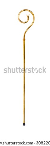 Staff or scepter of Sinterklaas. Isolated on white backgroud. Part of a dutch sancta tradition - stock photo