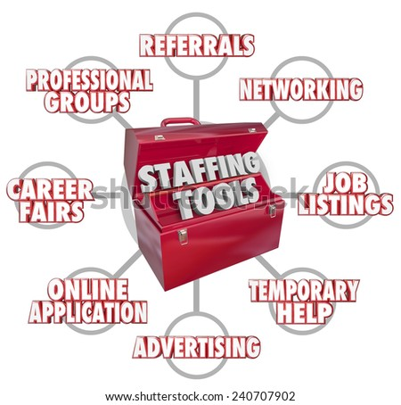Staffing Tools 3d words in a red toolbox and resources such as career fairs, advertising, professional groups, networking, referrals, job listings and temporary help - stock photo