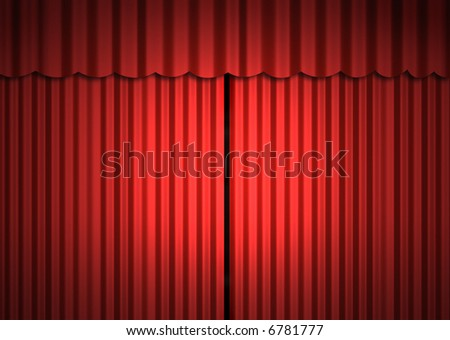 Stage (close curtain) - stock photo