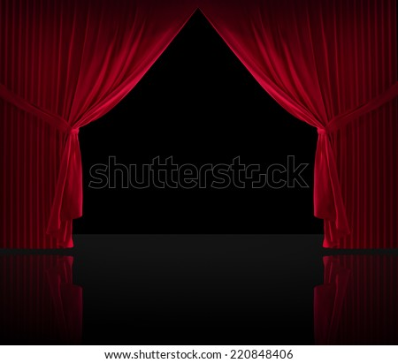 Stage curtains on a black background and a reflective floor - stock photo