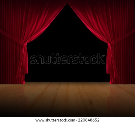 Stage curtains on a black background and a wooden floor - stock photo