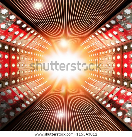 Stage decoration prepared for production and shooting TV show - stock photo