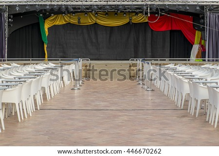 Stage for theater and chairs - stock photo