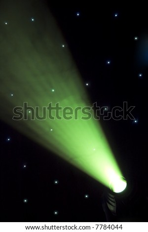 Stage green lights - prepared for production and shooting - stock photo