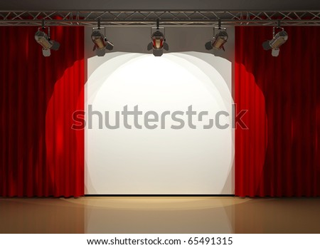 stage lighting and red curtians - stock photo