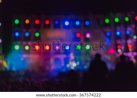 Stage lights  colorful blurred background - stock photo