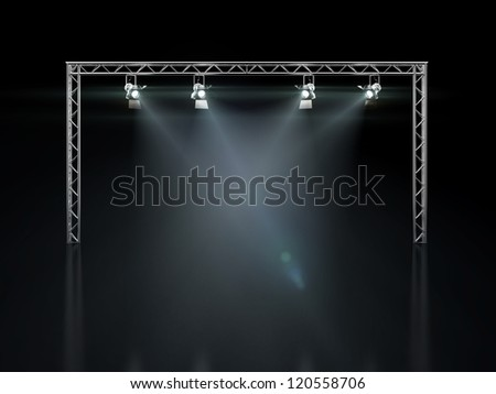 Stage lights isolated on black - stock photo