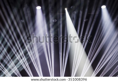 Stage lights on a console, smoke, image of stage lighting effects. Blured. - stock photo