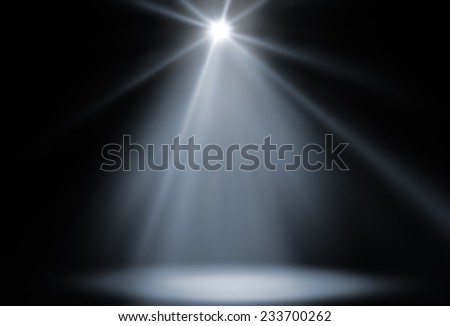 stage spot lighting background white - stock photo