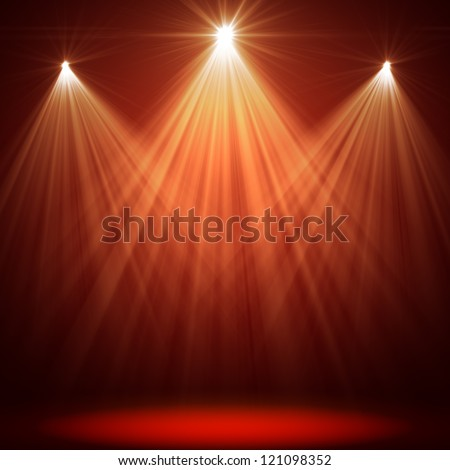 stage spot lighting over red christmas background - stock photo