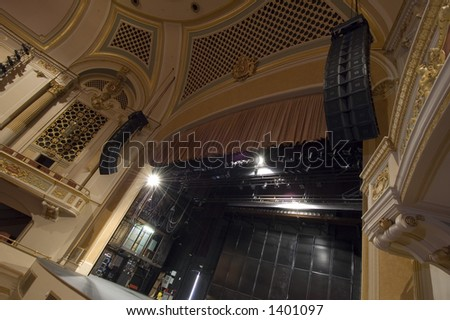 stage view of an old historic theatre theater - stock photo