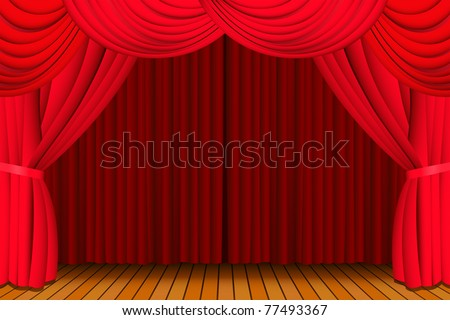 Stage with a closed red theatre curtain for a show