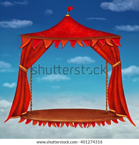 Stage with red  theater curtains in  cloudy sky background - stock photo